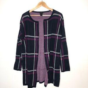 Ann Taylor Navy purple Open front Cardigan Medium